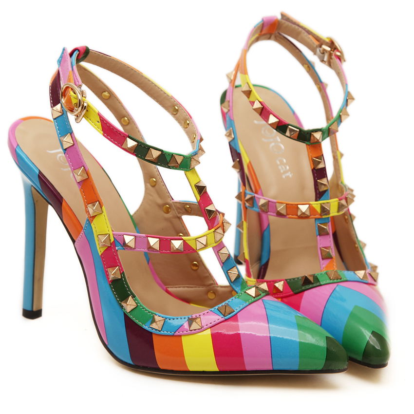 143c34543eff64 Rainbow stiletto fashion sexy pointed toe rivets women high heels sandals  summer pumps shoes