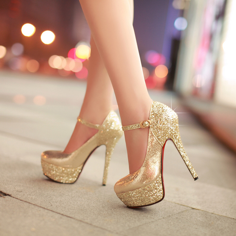 35221ddd7c79 Gold Silver Stiletto Glitter High Heels on Luulla